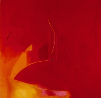 "Stravinsky Red • Oil on Canvas, 60"" x 60"" • 1978"