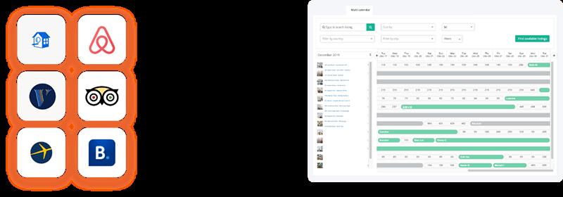 Multi-calendar screenshot and logos of airbnb, homeaway, vrbo, tripadvisor, expedia and booking.com
