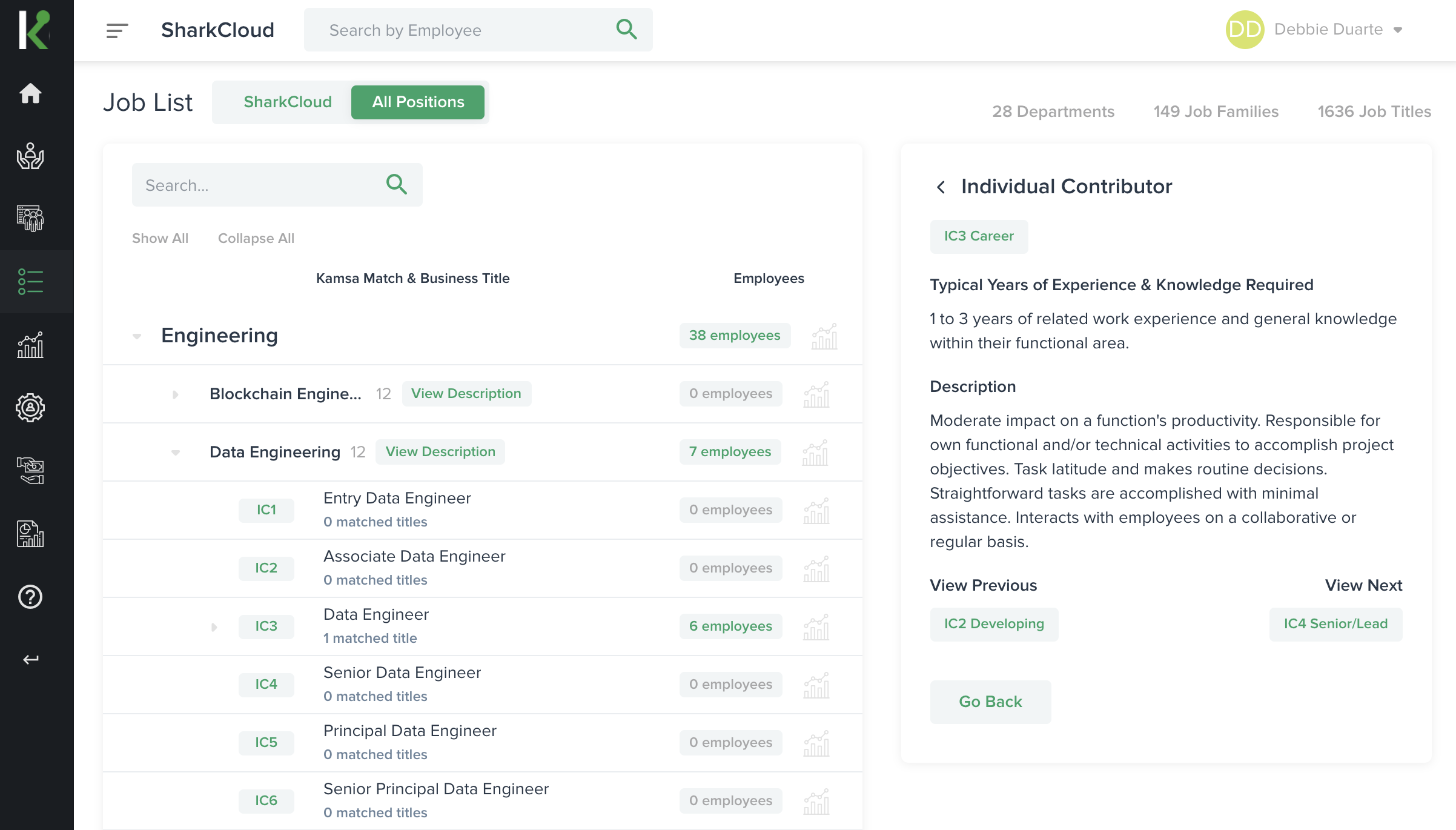 Kamsa's Job List page displays all job levels and descriptions for each level, helping companies establish consistency in career paths for all employees.