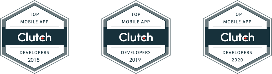 Clutch Top Developer Award Badges for 2018, 2019, and 2020