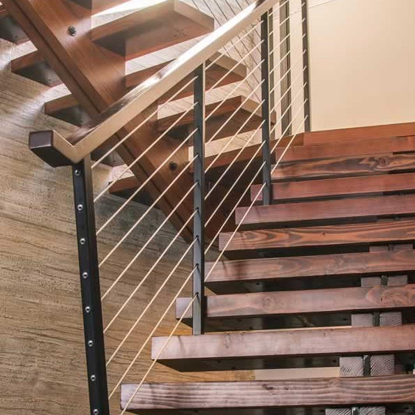 rustic wood and metal staircase