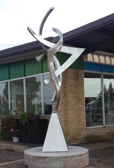 silver outdoor sculpture