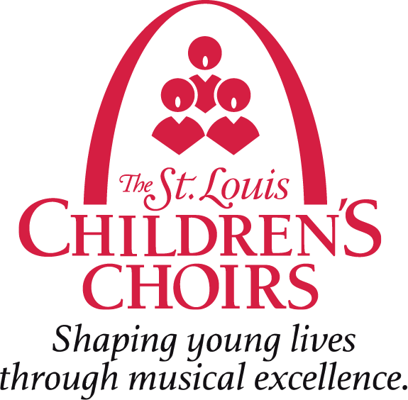 The Saint Louis Children's Choirs Red Logo with Artistic Director Name