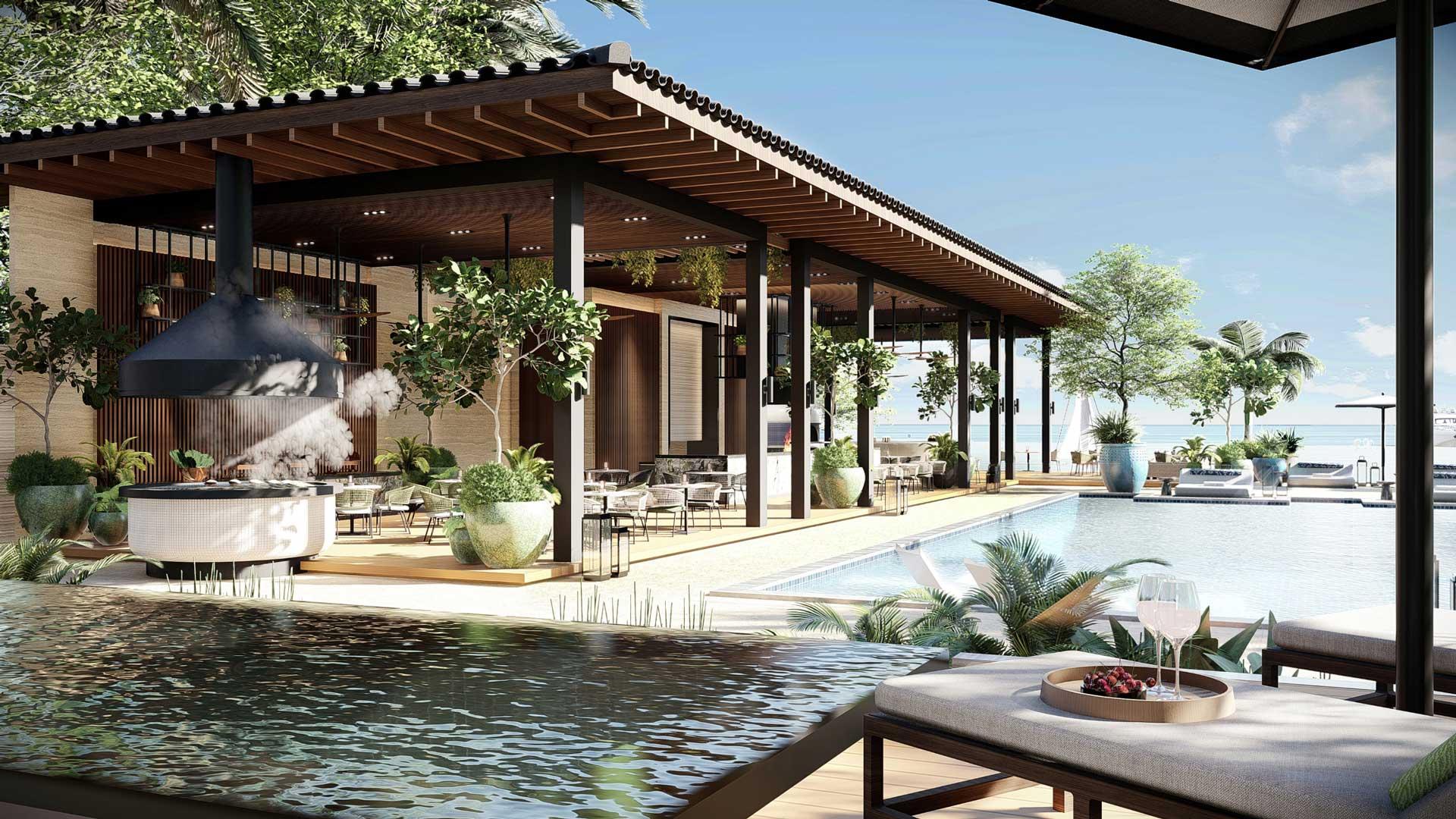 Luxurious resort hotel pools and cabana