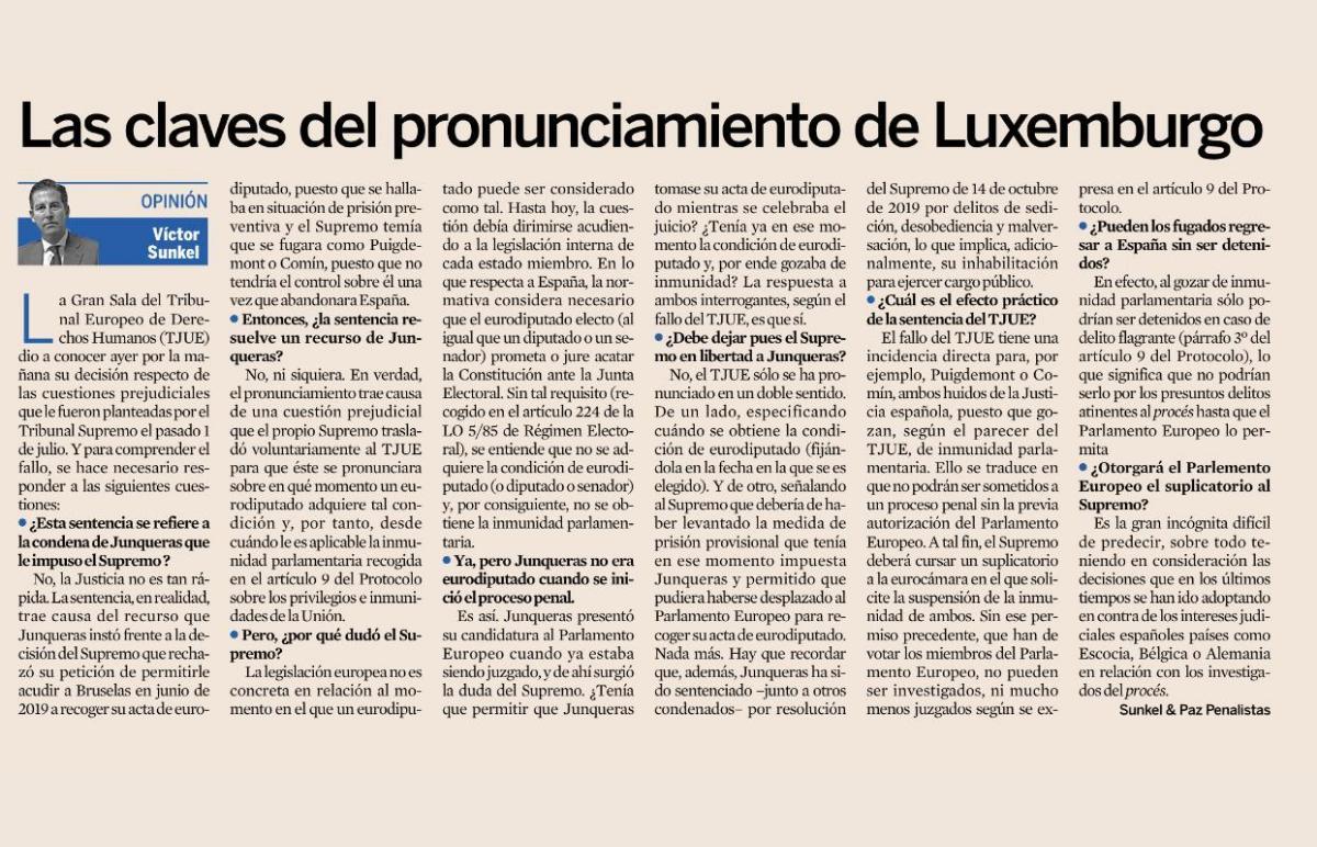 """Las claves del pronunciamiento del TJUE en el """"Caso Junqueras"""""""