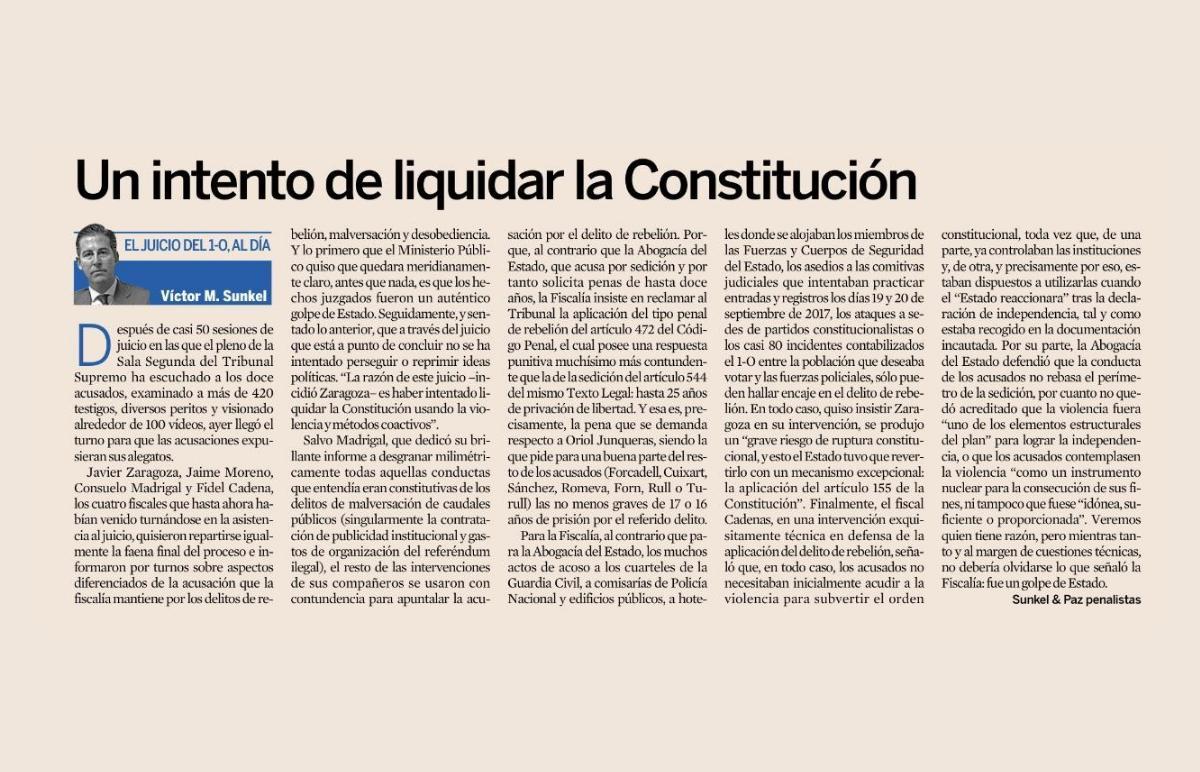 Un intento de liquidar la Constitución