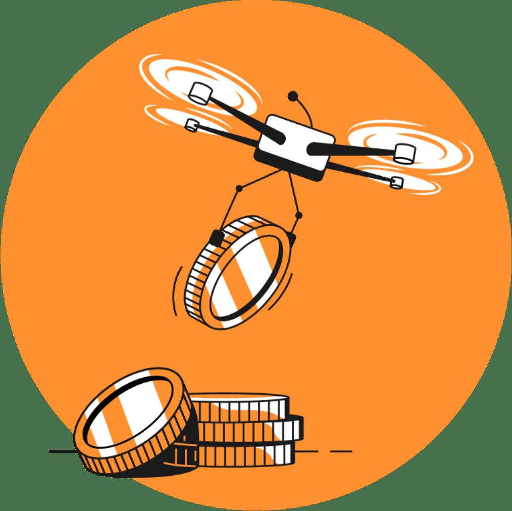drone con criptomonedas