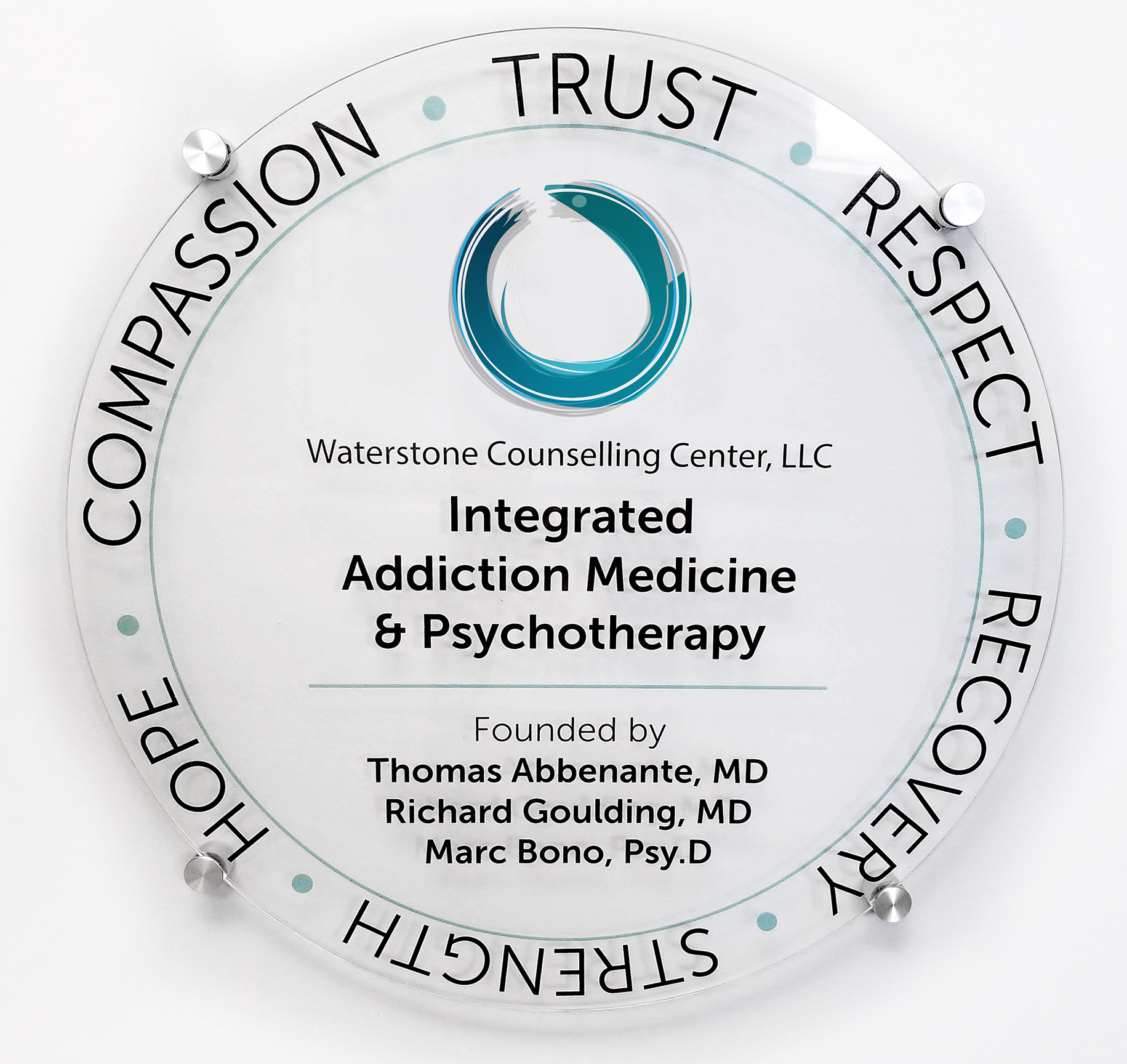 Waterstone Logo with Company description. Trust, Respect, Recovery, Strength, Hope, Compassion. 2