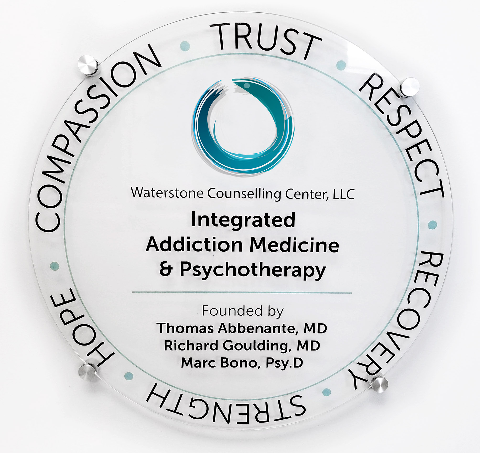 Waterstone Logo with Company description. Trust, Respect, Recovery, Strength, Hope, Compassion.