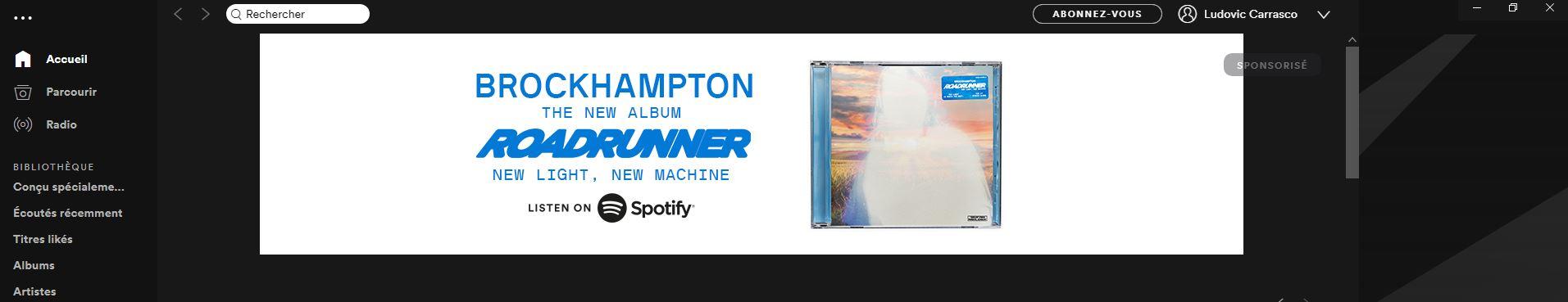 bannière homepage Spotify