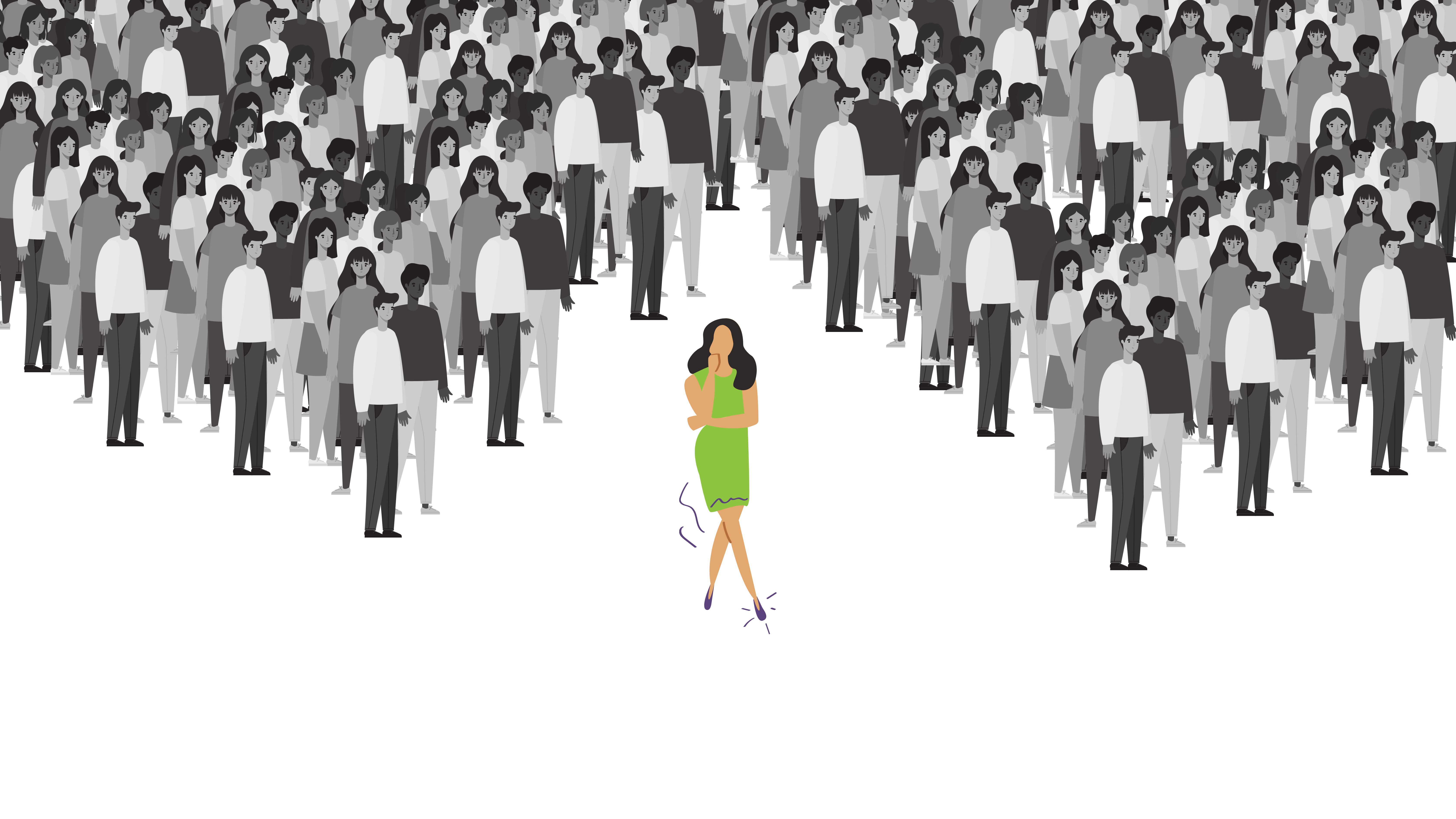 Image of a buyer standing out from a crowd.