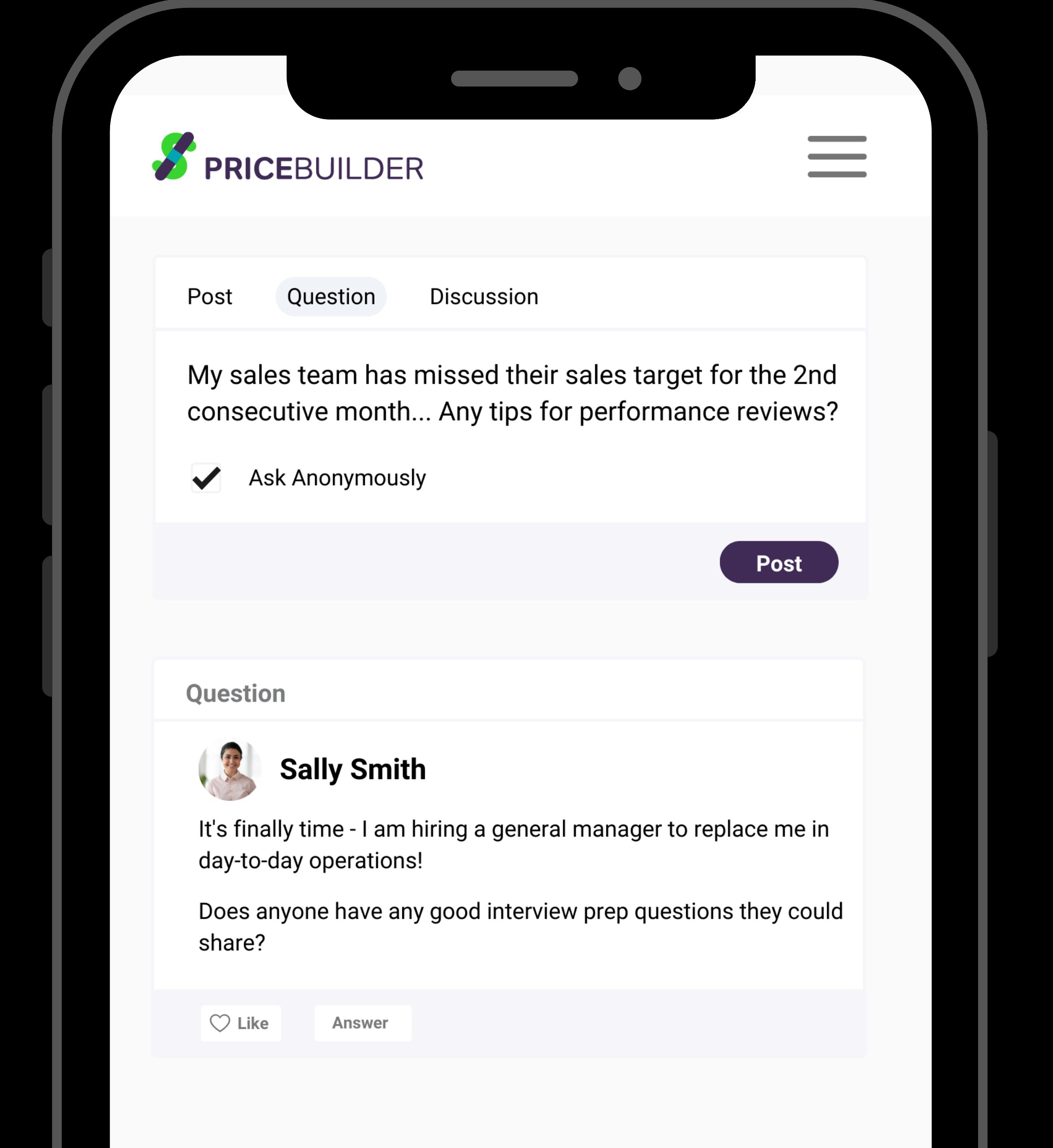 Screenshot of PriceBuilder community on an iphone.