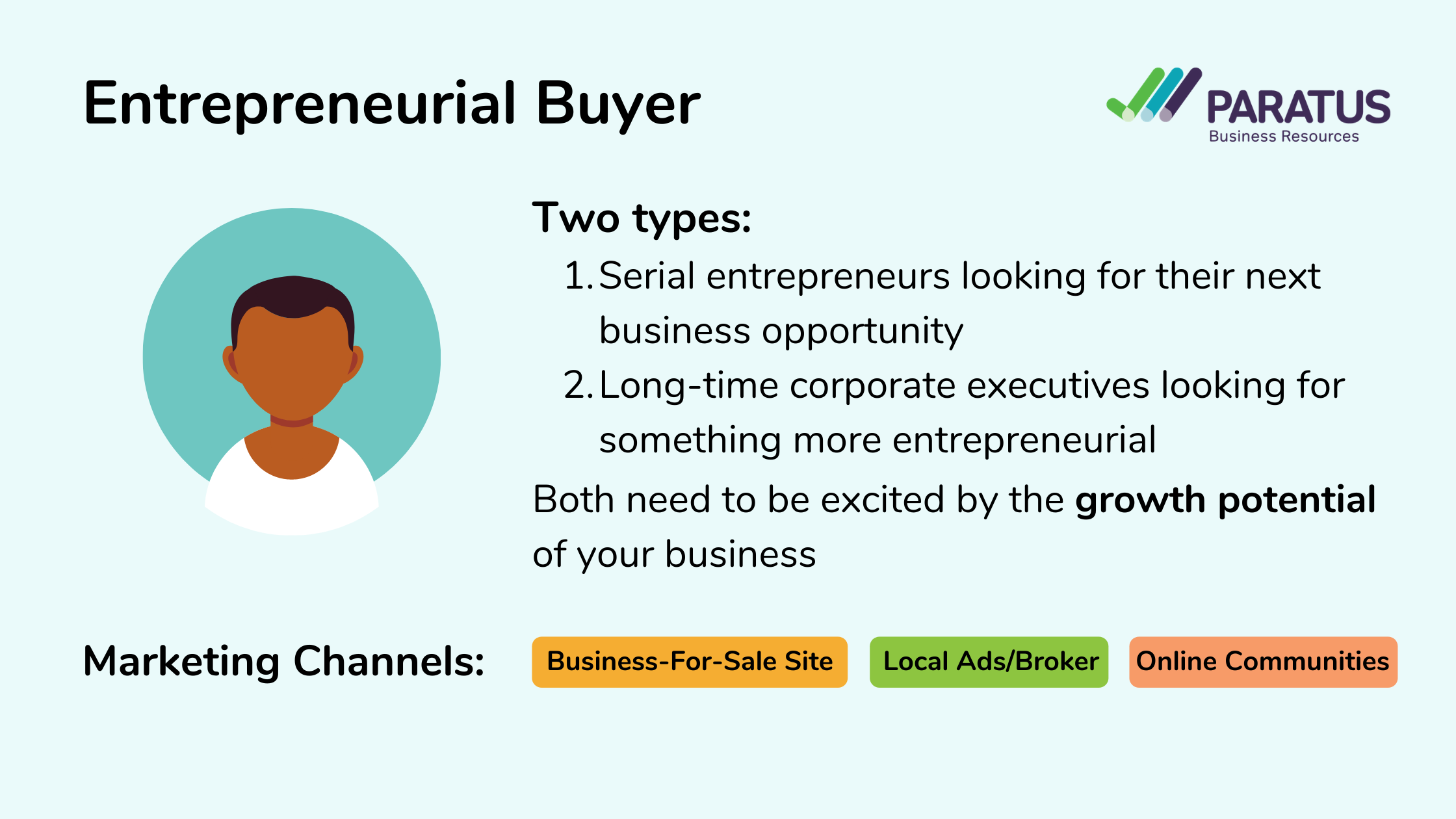 Image describing that Entrepreneurial Buyers need to be excited by the growth potential of your business