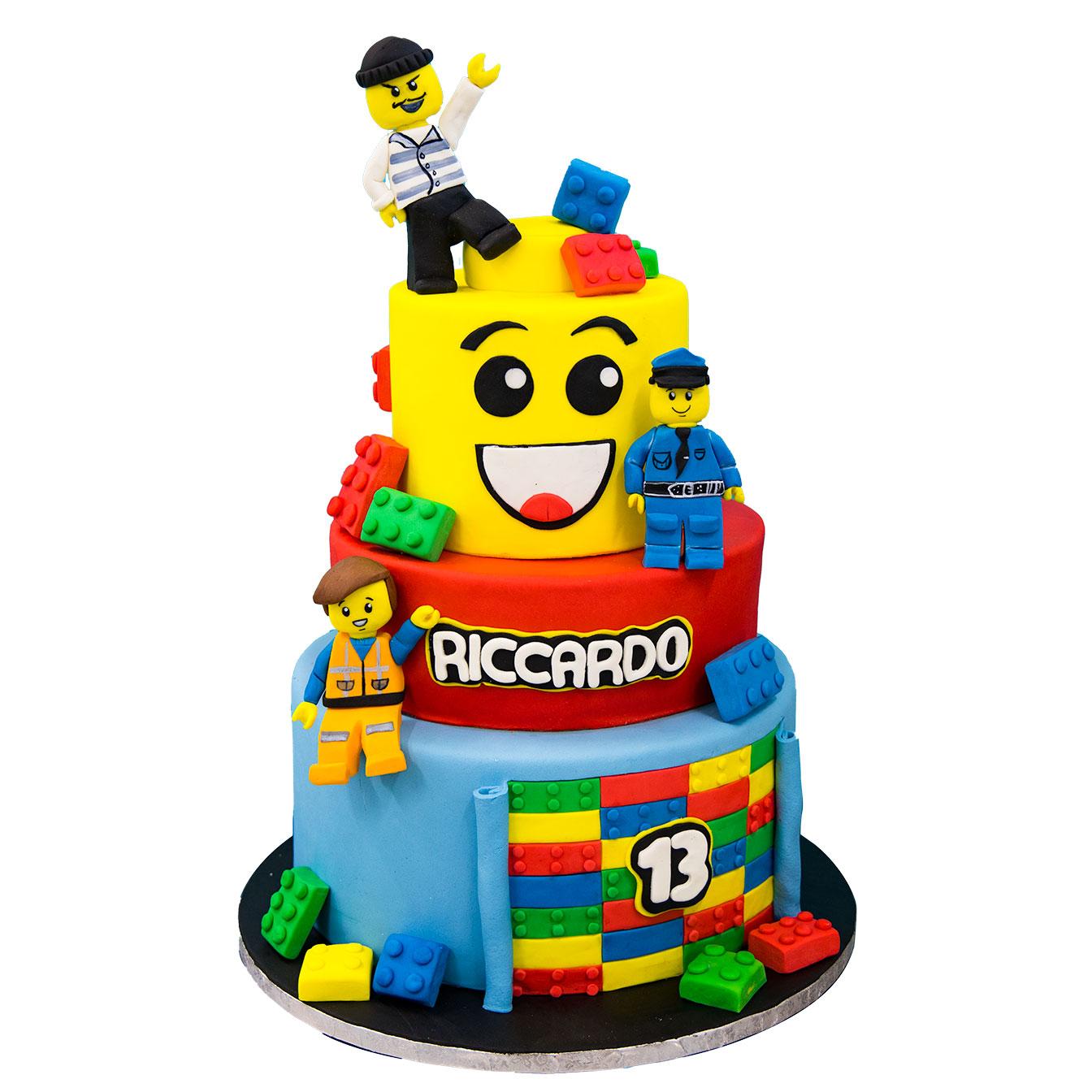 Torta Lego, pasta di zucchero, Panarari