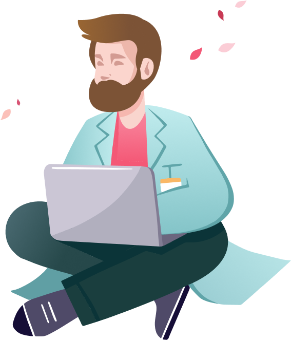 An illustration of a man sitting down on his laptop using Zentist