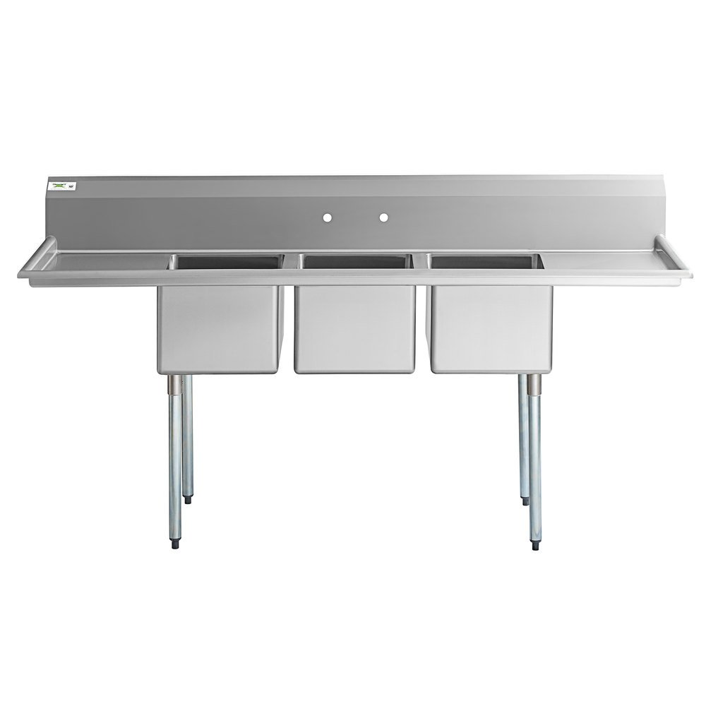 """Regency 88"""" 16-Gauge Stainless Steel Three Compartment Commercial Sink with Galvanized Steel Legs and 2 Drainboards - 16"""" x 20"""" x 12"""" Bowls"""