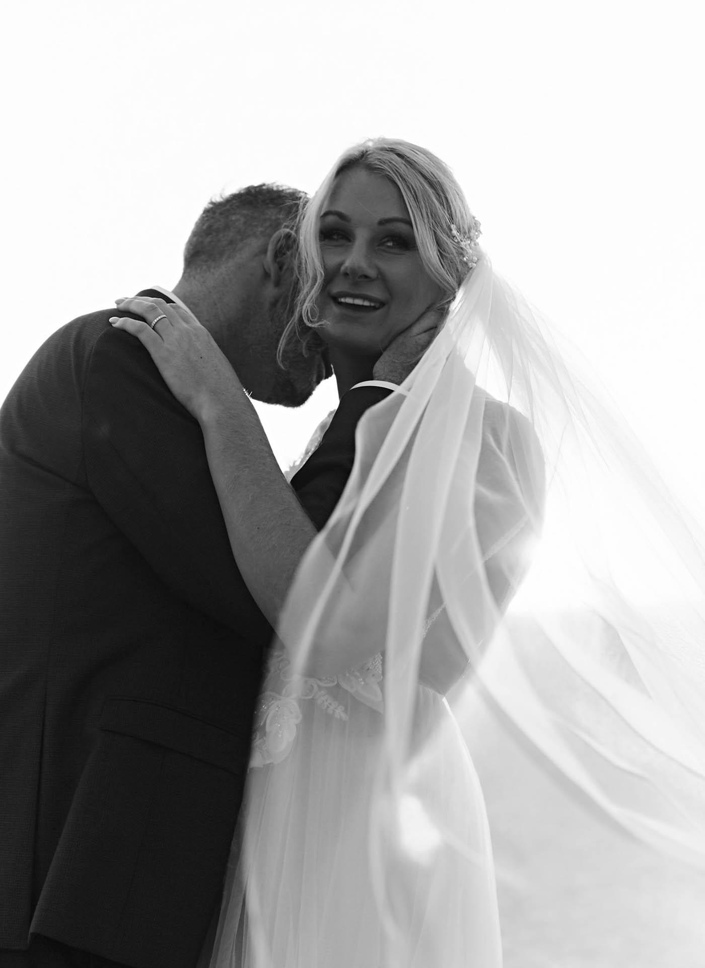 Newlyweds black and white photography