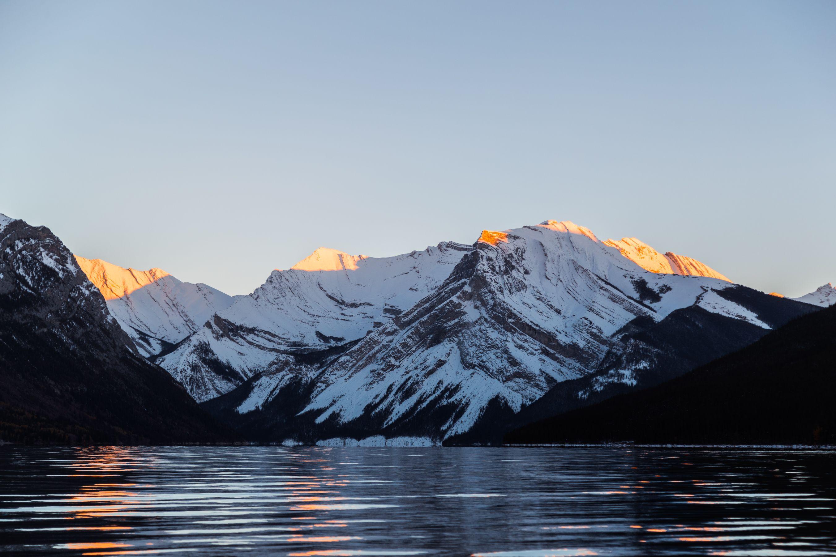 Last light hitting the peaks of snowy mountains.