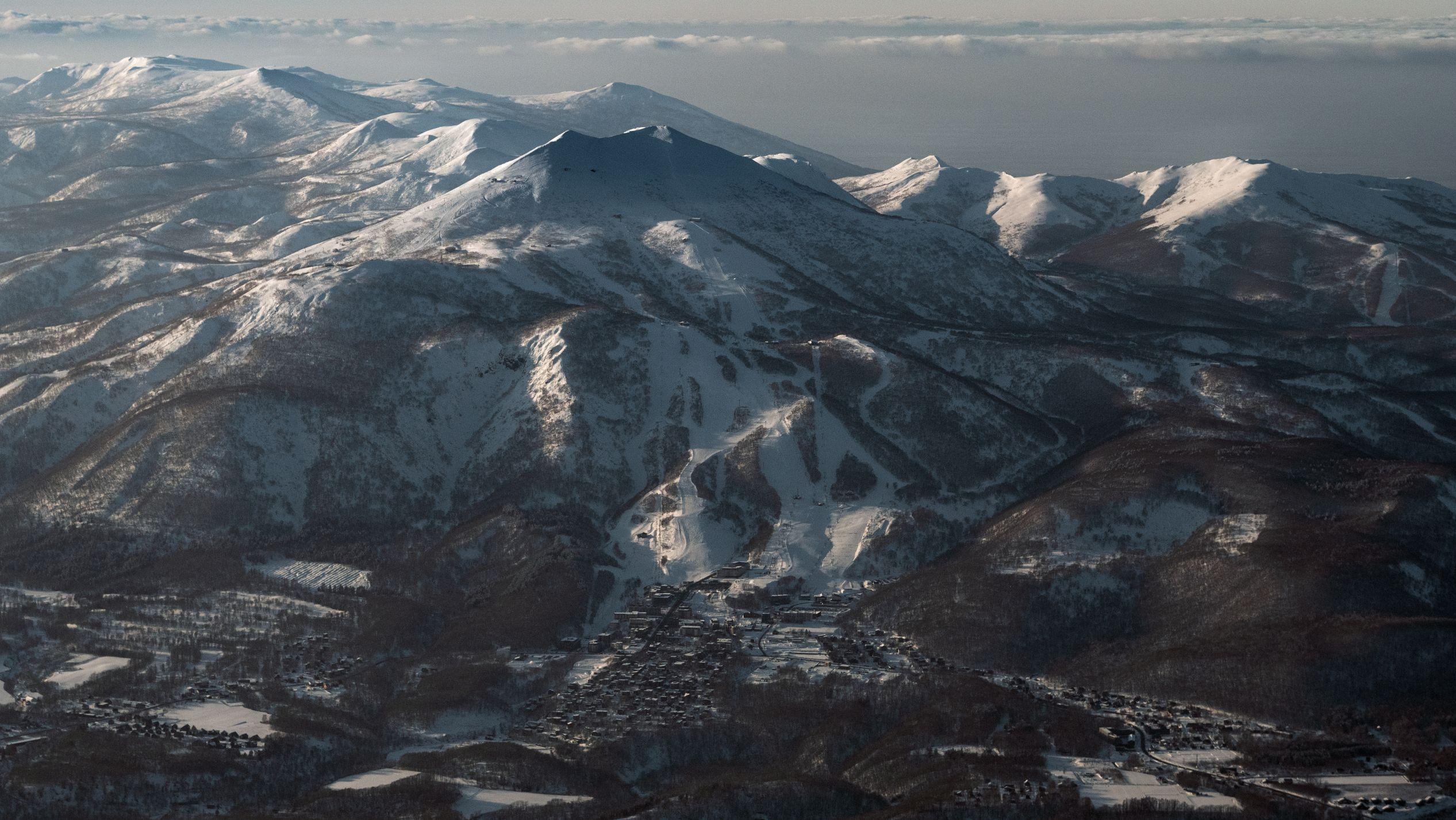 Aerial shot of ski resort.