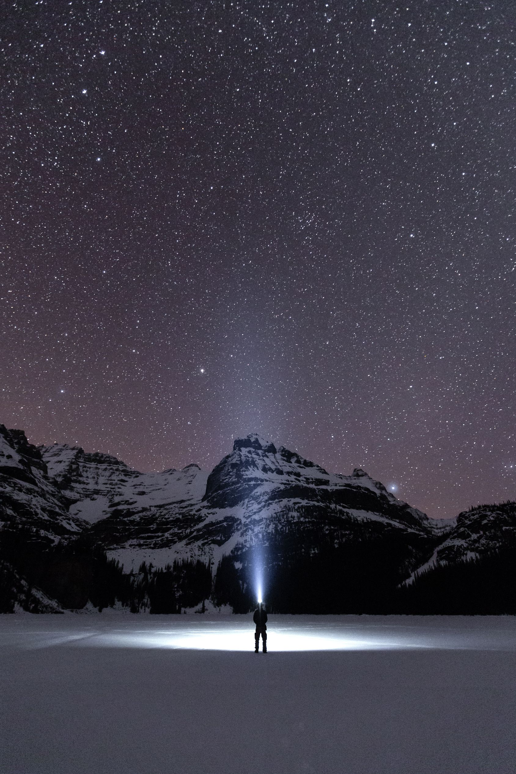 Man at night with head torch looking up at stars.