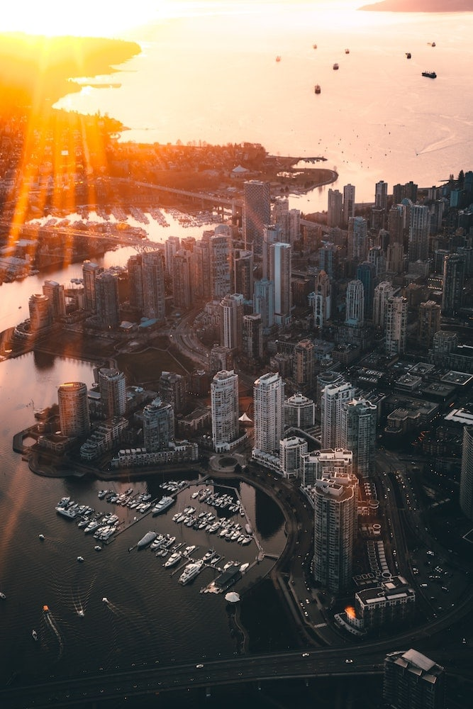 Sunset view of Vancouver, BC