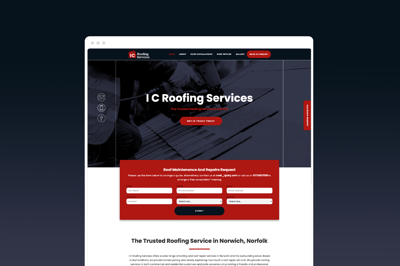 IC Roofing Services Website