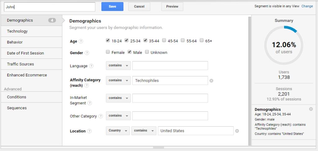 Ecommerce personas Google Analytics segment configuration