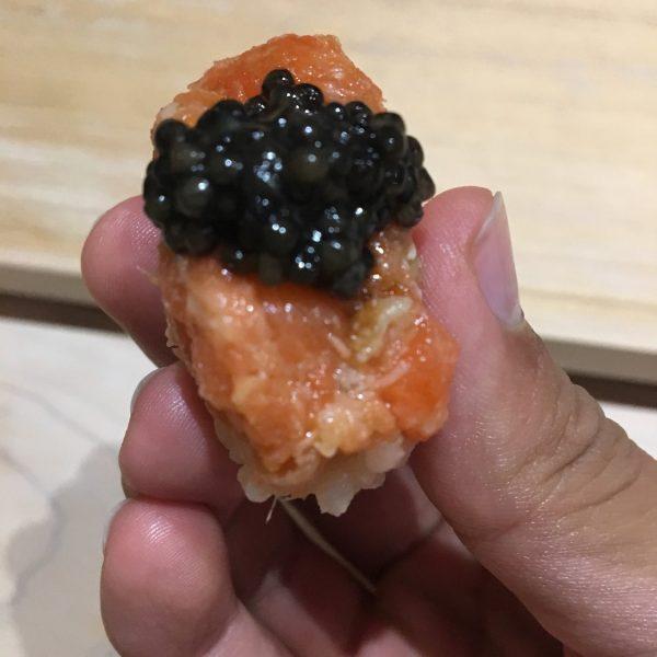 Salmon with Caviar sushi