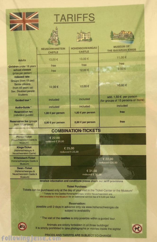Neuschwanstein Ticket Prices