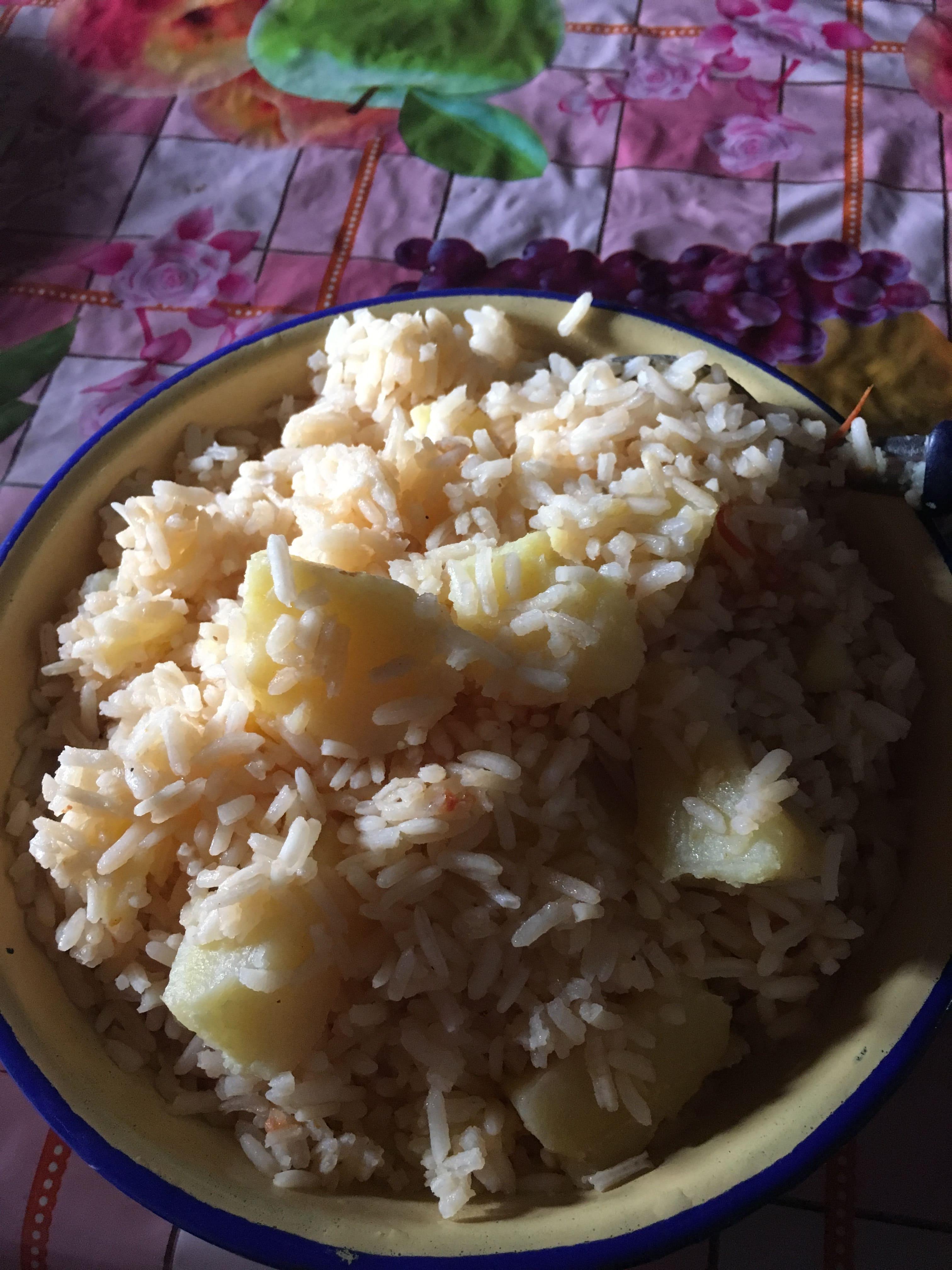 Kenya potatoes and rice maasai dinner