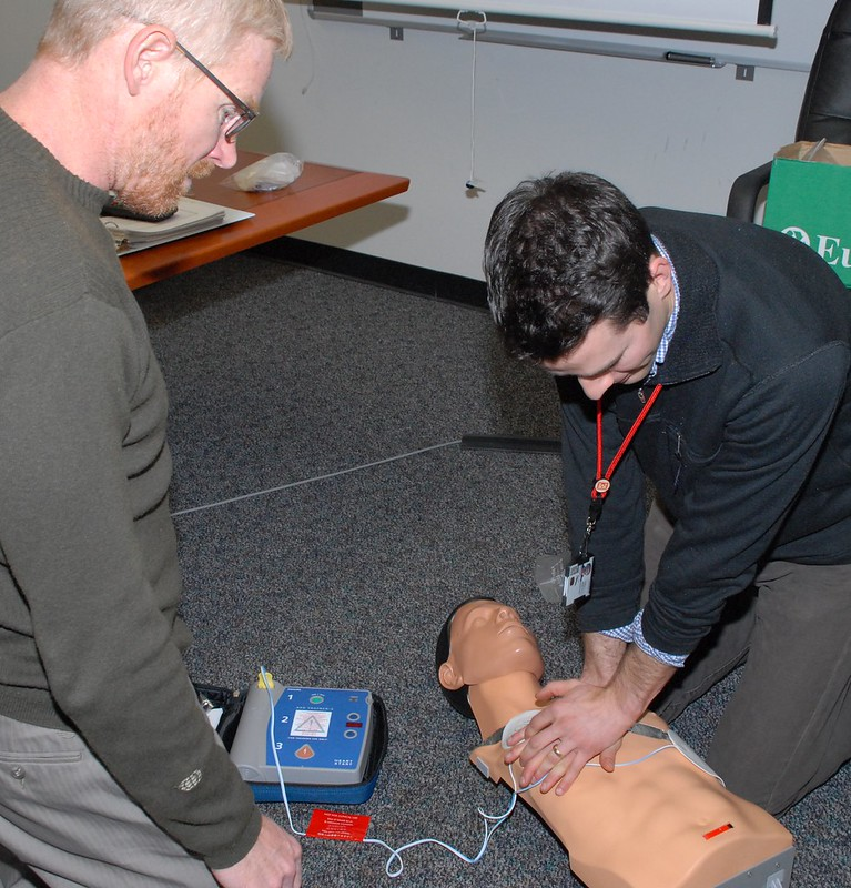 People taking part in a first aid course