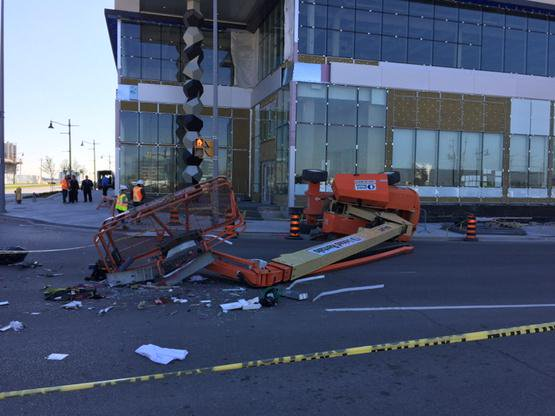 Boom Lift has Fallen Over in Middle of Street