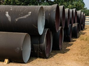 Stacked Pipes at Construction Site