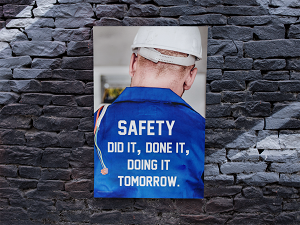 Safety Poster on Brick Wall