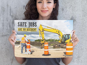 Construction Safety Poster, Safe Jobs Are No Accident