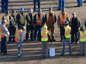 Construction Worker Pre-Shift Safety Meeting