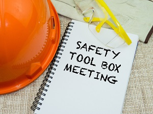 Hard Hat, Safety Glasses, Safety Tool Box Meeting Spiral Notebook