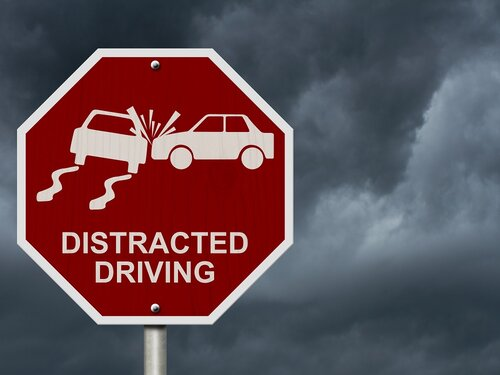 Distracted Driving Hazard Sign
