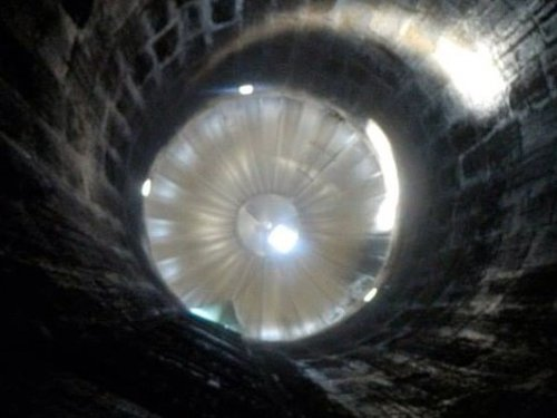 View from inside of a silo, confined space