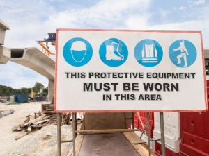 PPE Required Sign on Construction Site