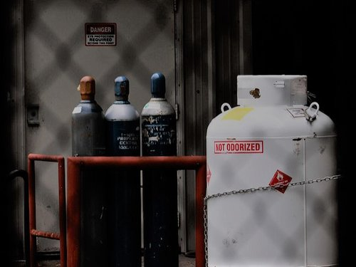 Hazardous Material Canisters in Storage