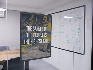 Framed Safety Poster by Conference Room