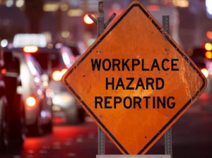Workplace Hazard Reporting on Warning Sign, Traffic Scene