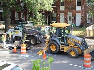 Excavator and Dump Truck, Road Work