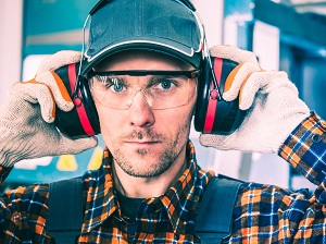 Worker Wearing Hearing Protection