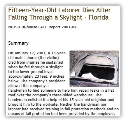 Article, Worker Dies When He Fell Through Skylight