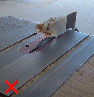 Unprotected table saw blade.