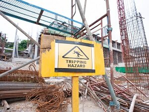 Tripping Hazard Warning Sign at Construction Site