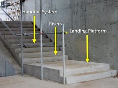 Platform landings on stairways must be free of obstructions such as cumulation of debris, materials, trash.