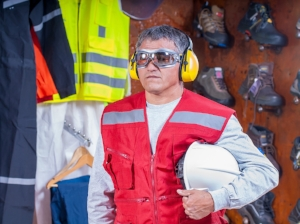 Worker Wearing Various PPE